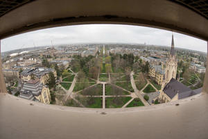View from the cupola of the Main Building. (Photo by Matt Cashore/University of Notre Dame)