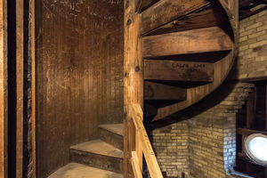 A spiral staircase inside the Dome. (Photo by Matt Cashore/University of Notre Dame)